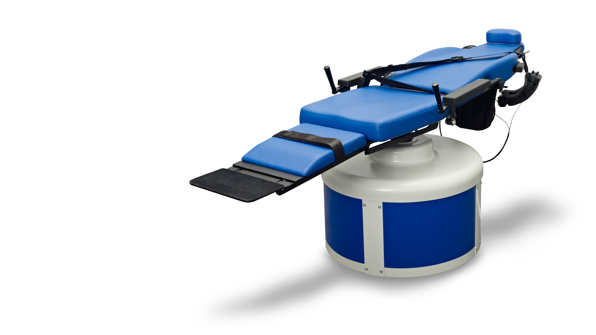 This is a photo of the blue Nydiag 200 rotary chair for vestibular diagnosis.