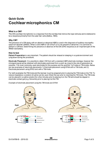 Cochlear microphonics (CM)