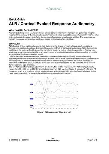 Alr cortical evoked response audiometry
