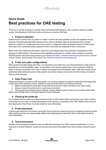 Best practices for OAE testing