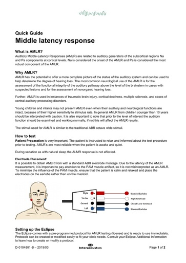 Middle latency responses (AMLR)